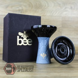 Bee Hookah • Phunnel Light Blue- Half Glazed Black White